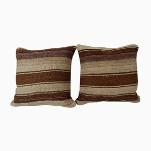 Turkish Hemp Kilim Cushion Covers, Set of 2