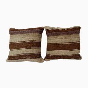 Turkish Hemp Kilim Cushion Covers, Set of 2