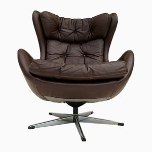 Danish Leather Swivel Chair by H. W. Klein for Bramin, 1970s