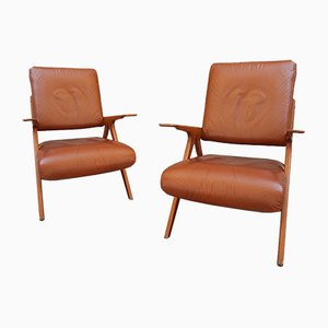 Wood and Brown Skai Lounge Chairs, 1950s, Set of 2