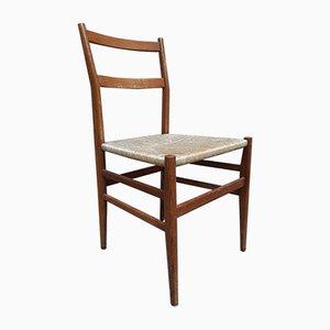 Chaises de Salon en Frêne, Noyer et en Paille par Gio Ponti pour Cassina, 1950s, Set de 6