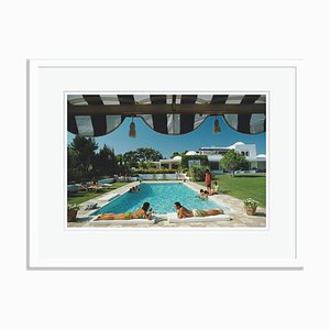 Poolside in Sotogrande Oversize C Print Framed in White by Slim Aarons