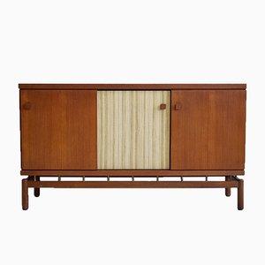 Teak Sideboard mit Bezug aus Stoff und Messing von Ilmari Tapiovaara für La Permanente Mobili Cantù, 1960er