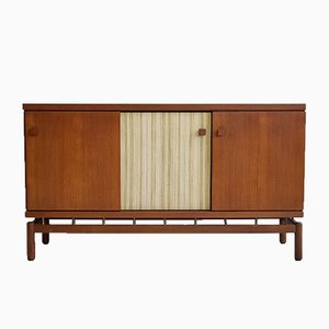 Teak Sideboard with Fabric and Brass Details by Ilmari Tapiovaara for La Permanente Mobili Cantù, 1960s