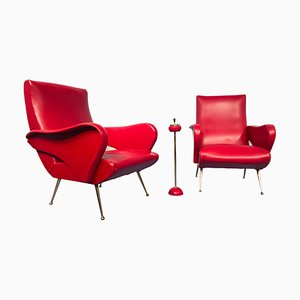 Mid-Century Italian Red Vinyl Lounge Chairs in the Style of Nino Zoncada, 1950s, Set of 2