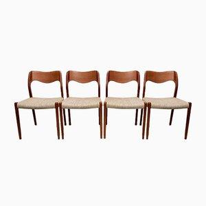 Dänische Teak Modell 71 Esszimmerstühle von Niels Otto Møller für JL Møllers, 1960er, 4er Set