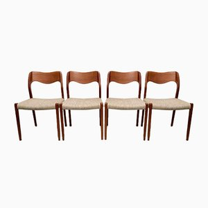 Danish Teak Model 71 Dining Chairs by Niels Otto Møller for J.L. Møllers, 1960s, Set of 4