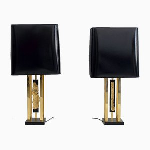 Gold Table Lamps with Black Shades by Philippe Cheverny, 1970s, Set of 2