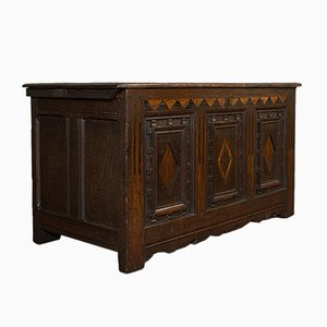 Antique William III English Oak Linen Chest Trunk, 1700s
