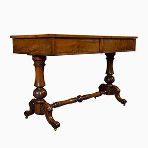 Antique Regency English Flame Mahogany Library Table, 1820s