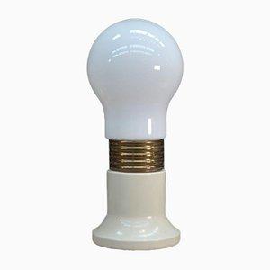 Lampada da tavolo a forma di lampadina in metallo laccato bianco e vetro opalino bianco, anni '70
