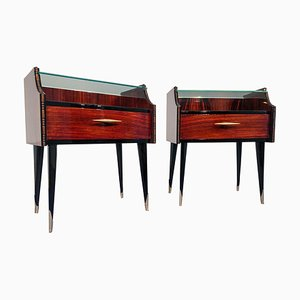 Mid-Century Italian Rosewood Nightstands with Double Glass, 1960s, Set of 2