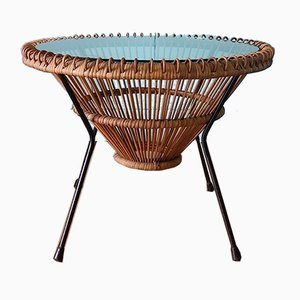 Mid-Century Rattan & Glass Coffee Table by Franco Albini, 1950s