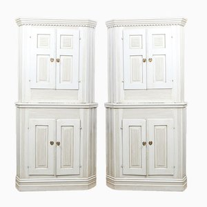 Antique Fluted Corner Cabinets, Set of 2