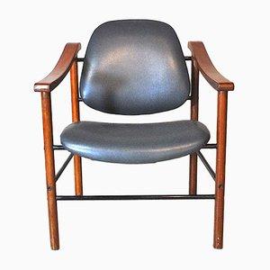 Chaises de Salon en Acajou et Cuir, Italie, 1960s, Set de 6