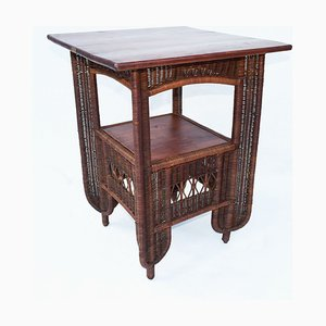Antique Italian Wicker Coffee Table from Casa Moderna Genova, 1910s