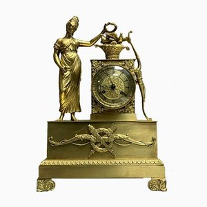 Empire Gold Patinated Bronze Clock