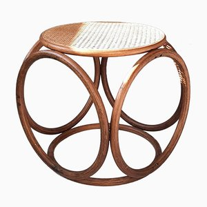 Mid-Century Round Bentwood and Rattan Stool, 1970s