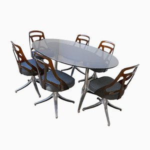 Set de Table et Chaises de Salle à Manger Mid-Century, 1970s, Set de 7