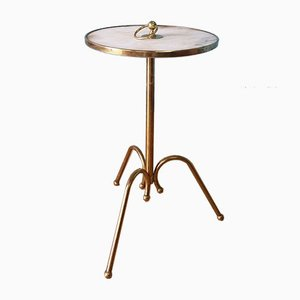 Italian Brass & Marble Side Table by Cesare Lacca, 1950s