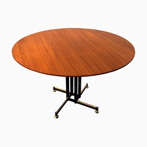 Mid-Century Italian Round Teak Dining Table & Chairs Set, 1950s, Set of 3