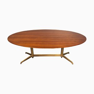 Mid-Century Italian Oval Walnut Dining Table, 1950s