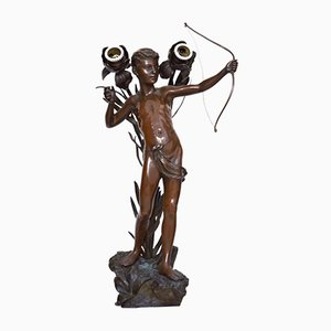 Antique Art Nouveau Amor Bronze Table Lamp