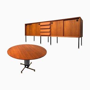 Italienischer Mid-Century Teak Esstisch & Stühle, 1960er, 4er Set