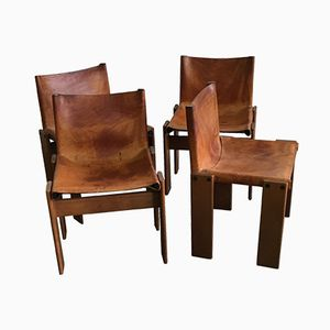 Vintage Leather and Wood Chairs by Sedie Afra & Tobia Scarpa, Set of 4