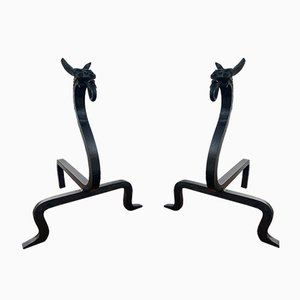 Andirons in the Style of Edward Schneck, 1950s, Set of 2