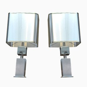 Chrome-Plated Metal and Brushed Aluminum Table Lamps, 1960s, Set of 2
