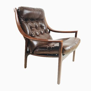Mid-Century Danish Rosewood & Leather Chair with Fagas Strapping from J.M. Birking, 1960s