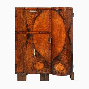 Mueble bar Art Déco de madera nudosa de nogal de Osvaldo Borsani, años 30