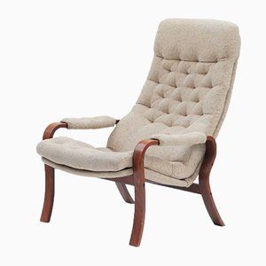 Mid-Century Scandinavian Beech and Mottled Fabric Lounge Chair, 1960s