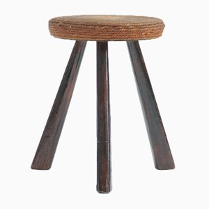 Mid-Century Tripod Stool Attributed to Adrien Audoux & Frida Minet, 1960s