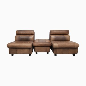 Brown Leather Patchwork Armchairs and Stool Set, 1970s
