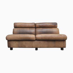 Brown Buffalo Leather 2-seater Patchwork Sofa, 1970s