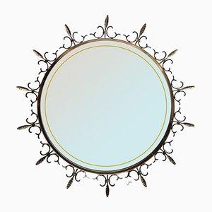 Perforated Brass Illuminated Wall Mirror, 1950s