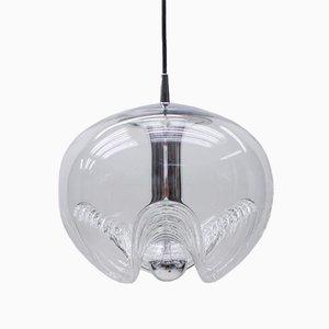 Große wellenförmige Deckenlampe aus Klarglas von Koch & Lowy für Peill & Putzler, 1960er