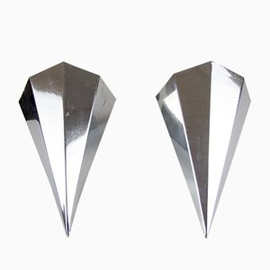 Art Deco Nickel-Plated Metal Prism Corner Sconces, 1920s, Set of 2