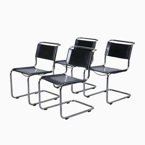 S33 Dining Chairs in Black Leather by Mart Stam for Thonet, 1980s, Set of 4