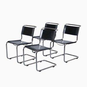S33 Esszimmerstühle aus schwarzem Leder von Mart Stam für Thonet, 1980er, 4er Set