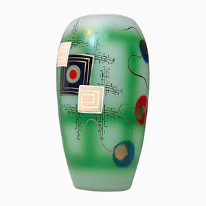 Scandinavian Modern Hand Painted Glass Vase, 1970s