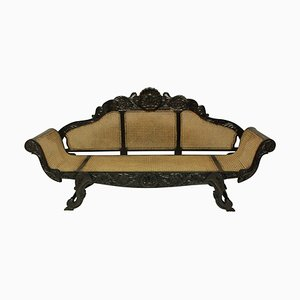 Large Antique Anglo-Ceylonese Solid Ebony Settee