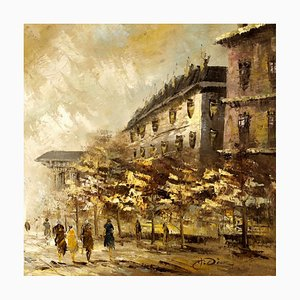 Large Impressionist Style French View of Paris Oil Painting, 1950s