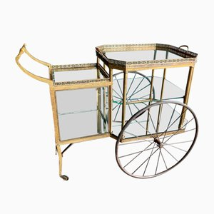19th Century Hollywood Regency Style Brass Trolley