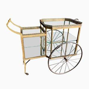 Messing Servierwagen im Hollywood Regency Stil, 19. Jh