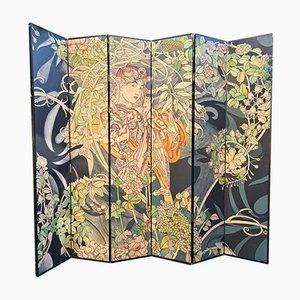 Biombo para seis paneles pintado y grabado, años 70