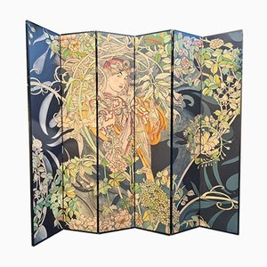 Painted and Engraved 6-Panel Room Divider, 1970s