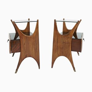 Italian Bedside Tables in Walnut and Black Glass, 1950s, Set of 2